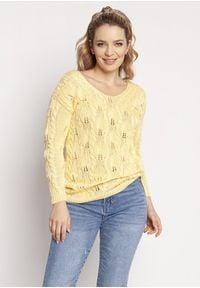 MKM - Kobiecy Ażurowy Sweter - Żółty. Kolor: żółty. Materiał: bawełna, akryl. Wzór: ażurowy