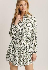 Renee - Biało-Zielona Sukienka Rhaenixia. Okazja: na co dzień. Kolor: biały. Długość rękawa: długi rękaw. Wzór: nadruk. Typ sukienki: proste. Styl: casual. Długość: mini