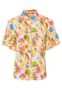 Bluzka z rękawami z falbanami bonprix waniliowy z nadrukiem. Kolor: żółty. Wzór: nadruk. Styl: elegancki