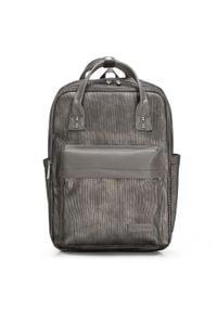 """Wittchen - Męski plecak z kieszenią na laptopa 15,6"""" metaliczny. Kolor: szary. Materiał: nylon. Wzór: paski"""