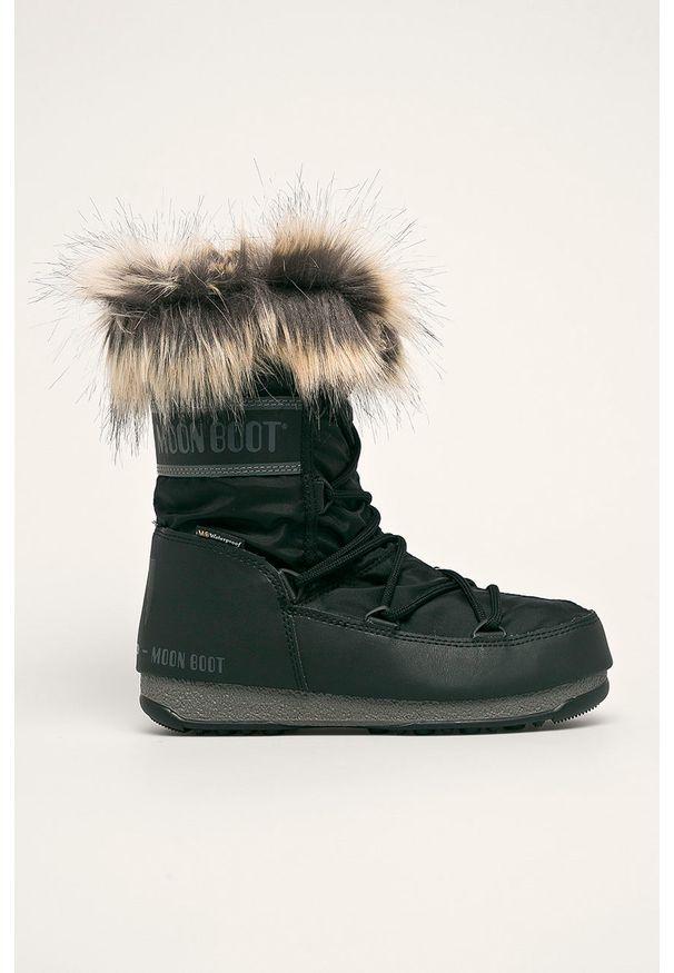 Czarne śniegowce Moon Boot z cholewką, na sznurówki