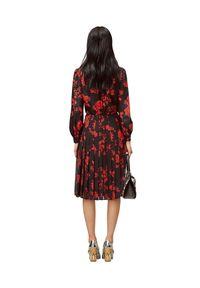 Tory Burch - TORY BURCH - Plisowana spódnica midi. Stan: podwyższony. Kolor: czarny. Materiał: materiał. Wzór: kwiaty, nadruk. Styl: klasyczny