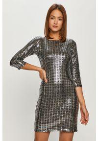 Morgan - Sukienka. Kolor: srebrny. Materiał: dzianina, materiał. Wzór: gładki. Typ sukienki: dopasowane