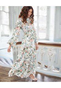 NEEDLE & THREAD - Sukienka maxi Esther. Kolor: zielony. Materiał: wiskoza. Wzór: nadruk, kwiaty, aplikacja. Typ sukienki: proste. Długość: maxi