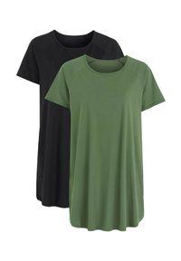 Cellbes Dżersejowa tunika z bawełny 2 Pack khaki Czarny female zielony/czarny 58/60. Kolor: wielokolorowy, zielony, czarny. Materiał: jersey, bawełna. Długość rękawa: raglanowy rękaw. Długość: krótkie