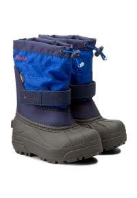 columbia - Śniegowce COLUMBIA - Childrens Powderbug Plus II BC1326 Collegiate Navy/Chili 464. Kolor: niebieski. Materiał: materiał. Szerokość cholewki: normalna. Sezon: zima