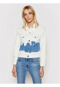 Trussardi Jeans - Trussardi Kurtka jeansowa Blitch Tye-Dye 56S00632 Biały Cropped Fit. Kolor: biały