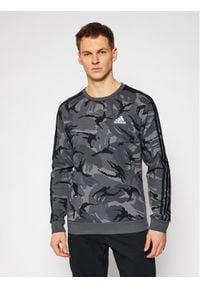 Adidas - adidas Bluza Essentials Camouflage Crew GK9976 Szary Regular Fit. Kolor: szary