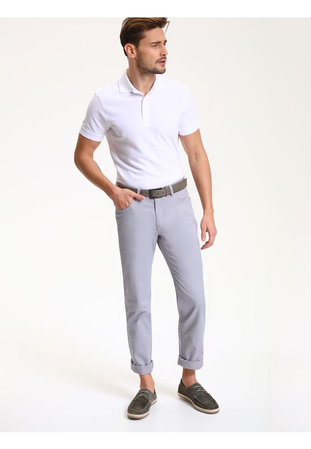 Szare spodnie TOP SECRET w kolorowe wzory, na co dzień