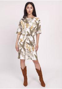 e-margeritka - Sukienka kimonowa elegancka - 34. Okazja: do pracy. Materiał: materiał, poliester. Typ sukienki: ołówkowe, dopasowane. Styl: elegancki. Długość: midi