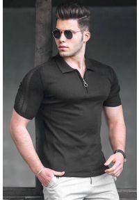 Czarny t-shirt IVET polo, casualowy, na co dzień