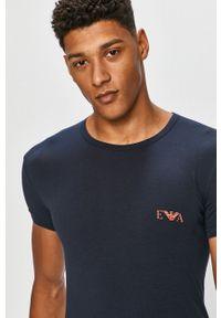 Emporio Armani Underwear - Emporio Armani - T-shirt (2-pack). Okazja: na co dzień. Kolor: niebieski. Materiał: dzianina. Wzór: gładki, aplikacja. Styl: casual