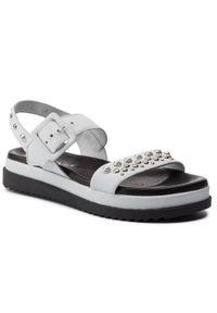 Białe sandały Carinii z aplikacjami, na co dzień, casualowe