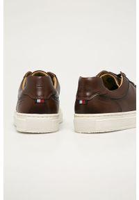 Brązowe sneakersy TOMMY HILFIGER z okrągłym noskiem, z cholewką, na sznurówki #3