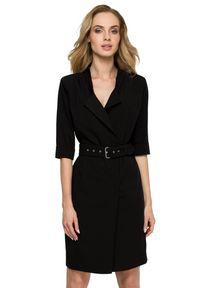 Style - Żakietowa kopertowa elegancka sukienka z paskiem. Materiał: materiał, elastan. Typ sukienki: kopertowe. Styl: elegancki. Długość: mini