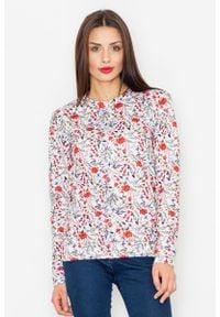 Figl - Ecru Klasyczna Bluza w Kolorowe Kwiaty. Materiał: poliester. Wzór: kolorowy, kwiaty. Styl: klasyczny