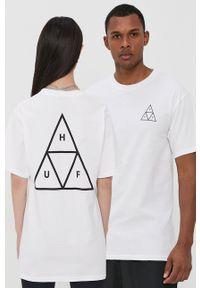 HUF - T-shirt. Okazja: na co dzień. Kolor: biały. Materiał: dzianina. Wzór: nadruk. Styl: casual