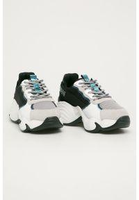 Szare buty sportowe Emporio Armani z cholewką, na obcasie, na sznurówki, na średnim obcasie