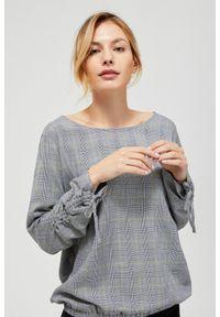 Szara koszula MOODO w kratkę, z długim rękawem