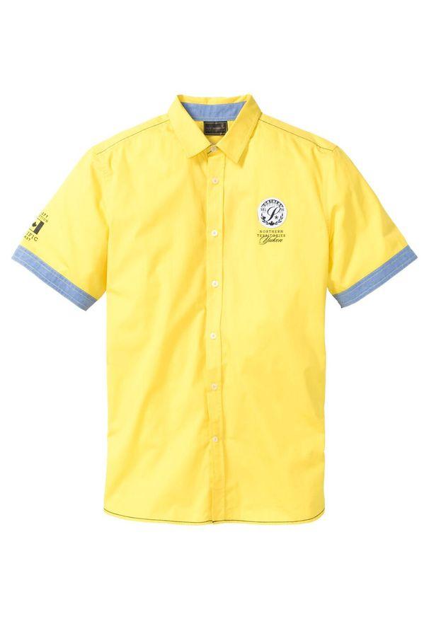 Żółta koszula bonprix krótka, z krótkim rękawem, z nadrukiem
