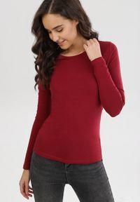 Born2be - Bordowa Bluzka Wonderstem. Kolor: czerwony. Materiał: dzianina. Długość rękawa: długi rękaw. Długość: długie. Wzór: gładki. Styl: klasyczny