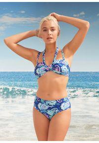 Bikini bandeau (2 części) bonprix niebieski paisley. Kolor: niebieski. Wzór: paisley