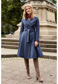 Marie Zélie - Płaszcz wełniany Achillea niebieski. Kolor: niebieski. Materiał: wełna. Wzór: motyw zwierzęcy, ze splotem. Sezon: zima #6
