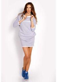 Lou-Lou - Szara Sukienka Dresowa z Kontrastowymi Plisami. Kolor: szary. Materiał: dresówka