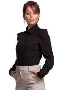 MOE - Czarna Klasyczna Koszula z Bufiastymi Rękawami. Kolor: czarny. Materiał: len, poliester. Styl: klasyczny