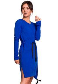 BE - Sukienka tunika z rozcięciami i troczkami. Materiał: bawełna, materiał, elastan. Długość rękawa: długi rękaw. Typ sukienki: asymetryczne