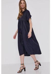 Niebieska sukienka Answear Lab gładkie, z krótkim rękawem, prosta, na co dzień