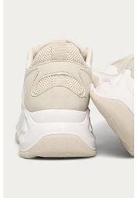 Kremowe buty sportowe ANSWEAR z okrągłym noskiem, na sznurówki, z cholewką