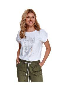 Biały t-shirt TOP SECRET gładki, krótki