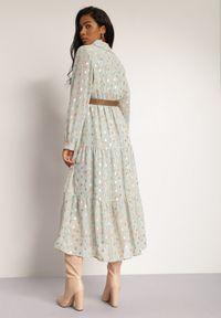 Renee - Miętowa Sukienka Sachiel. Kolor: miętowy. Długość rękawa: długi rękaw. Wzór: kwiaty. Długość: maxi