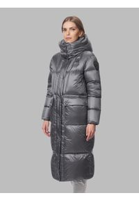 Szara długa kurtka zimowa Blauer. Kolor: szary. Materiał: puch, poliamid, nylon. Długość: długie. Wzór: jednolity, kratka, aplikacja. Sezon: zima