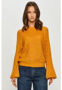 Pomarańczowy sweter Pepe Jeans na co dzień, casualowy, z długim rękawem, z okrągłym kołnierzem