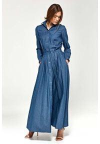 Nife - Jeansowa Koszulowa Sukienka Maxi z Długim Rękawem. Materiał: jeans. Długość rękawa: długi rękaw. Typ sukienki: koszulowe. Długość: maxi