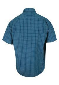 Niebieska elegancka koszula Ravanelli z krótkim rękawem, krótka, na spotkanie biznesowe