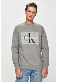 Szara bluza nierozpinana Calvin Klein Jeans z okrągłym kołnierzem, na co dzień, z nadrukiem
