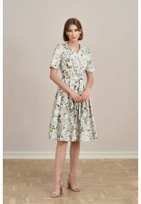 Marie Zélie - Sukienka Alodia Ficiforma kremowa. Kolor: kremowy. Materiał: bawełna, skóra, materiał, elastan. Długość rękawa: krótki rękaw
