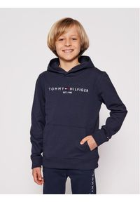 TOMMY HILFIGER - Tommy Hilfiger Bluza Essential Hoodie KB0KB05796 D Granatowy Regular Fit. Kolor: niebieski