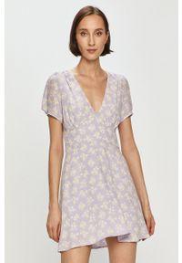 Pepe Jeans - Sukienka Ruth x Dua Lipa. Materiał: tkanina. Długość rękawa: krótki rękaw. Typ sukienki: rozkloszowane