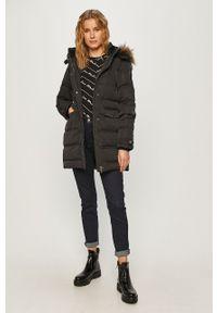Czarny płaszcz Pepe Jeans z kapturem, na co dzień, casualowy