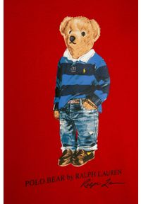 Czerwony t-shirt Polo Ralph Lauren polo, na co dzień, casualowy, z nadrukiem