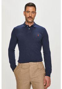 Niebieska koszulka z długim rękawem Polo Ralph Lauren polo, na co dzień, gładkie, casualowa