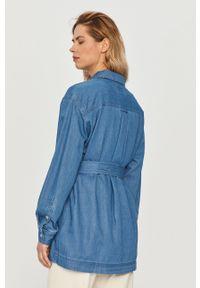 Niebieska koszula Tommy Jeans z długim rękawem, długa, klasyczna, na co dzień