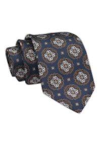 Chattier - Krawat Męski, Granatowo-Brązowy Klasyczny, Wzór Geometryczny, Szeroki 7,5 cm, Elegancki -CHATTIER. Kolor: niebieski, beżowy, brązowy, wielokolorowy. Materiał: tkanina. Wzór: geometria. Styl: klasyczny, elegancki