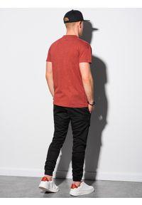 Ombre Clothing - T-shirt męski bawełniany S1375 - ceglasty - XXL. Kolor: czerwony. Materiał: bawełna. Wzór: aplikacja. Sezon: lato, wiosna