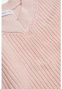 Różowy sweter Mango Kids gładki, casualowy