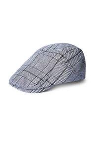 Szara czapka Giacomo Conti w kratkę, klasyczna